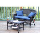 2 Piece Sofa Set with Cushions Color: Espresso, Fabric: Blue