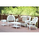 Mangum 5 Piece Rattan Sofa Seating Group with Cushions Color: White, Fabric: Cocoa Brown