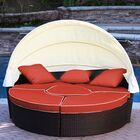 All-Weather 4 Piece Daybed Seating Group Set with Cushions Fabric: Red, Frame Color: Warm Cocoa Brown