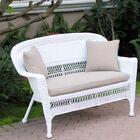 Alburg Loveseat with Cushions Fabric: Tan, Finish: White