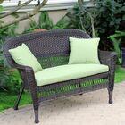 Alburg Loveseat with Cushions Finish: Espresso, Fabric: Green