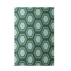 Geometric Hand-Woven Green/Blue Indoor/Outdoor Area Rug Rug Size: Rectangle 4' x 6'