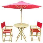 Sinta Bamboo 3 Piece Bistro Set with Umbrella Color: Red