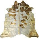 Jaelynn Hand-Woven Cowhide Gold/White Area Rug