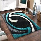 Lo-La Hand-Tufted Black/Blue Indoor/Outdoor Area Rug Rug Size: 8' x 11'