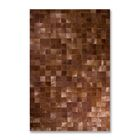 Aayush Four Square Patch Hand-Woven Cowhide Chocolate Area Rug