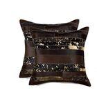 Sarthak Leather Throw Pillow Color: Chocolate/Gold