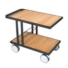 Grace Teak Bar Serving Cart Finish: Aluminum Black