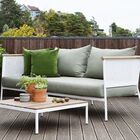 Riad Teak Patio Sofa with Cushion Frame Color: White, Fabric Color: Natural
