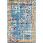 Center Blue Area Rug Rug Size: Rectangle 5' x 8'