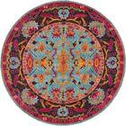 Charleena Blue/Orange Area Rug Rug Size: Round 6'