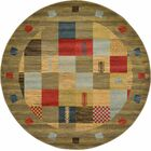Jan Light Brown Geometric Area Rug Rug Size: Round 6'