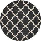 Moore Black Area Rug Rug Size: Round 8'