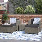 Delfino 5 Piece  Conversation Set with Cushions Fabric: Mixed Black