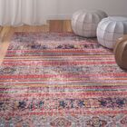 Ashburn Fuchsia Striped Area Rug Rug Size: 5'3