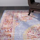 Kahina Vintage Distressed Oriental Blue/Red Area Rug Rug Size: Rectangle 7'10