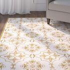 Helena Ivory/Orange Area Rug Rug Size: Rectangle 6' x 9'