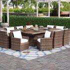 Dutil 11 Piece Sunbrella Dining Set with Cushions Color: Cream/Light Tan Blend