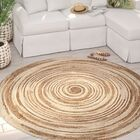 Lansing Handmade Tan/Ivory Area Rug Rug Size: Round 8'