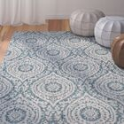 Fonwhary Classic Floral and Plants Aqua Indoor/Outdoor Area Rug Rug Size: Rectangle 7'10