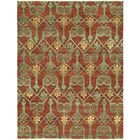 Hacking Hand Knotted Wool Red/Green Area Rug Rug Size: Rectangle 6' x 9'