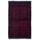 One-of-a-Kind Angoy Afghan Hand-Knotted Wool Red/Navy Area Rug