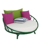 Olu Bamboo Large Round Patio Daybed with Cushions Frame Color: Green with White Cushion