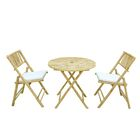 Woodcroft Bamboo 3 Piece Bistro Set with Cushions