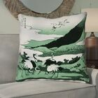 Montreal Japanese Cranes Suede Throw Pillow Size: 26
