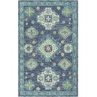 Alongi Hand Hooked Wool Navy/Turquoise Area Rug Rug Size: Rectangle 5' x 7'6