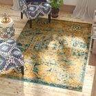 Shez Teal/Sun Indoor Area Rug Rug Size: 5'3