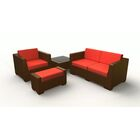 Sturtevant 4 Piece Sofa Set with Cushions Cushion Color: Bamboo, Frame Color: Brown