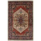One-of-a-Kind Doerr Hand Knotted Wool Cream/Red Area Rug