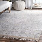 Linzy Flat Woven Cotton Gray Area Rug Rug Size: Rectangle 7'6