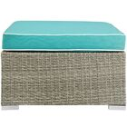Heinrich Outdoor Upholstered Fabric Patio Ottoman with Cushion Fabric: Turquoise