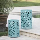 Antoinette Iron Side Table Color: Teal