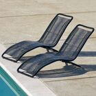 Chenoweth Wicker Patio Reclining Chaise Lounge Color: Black