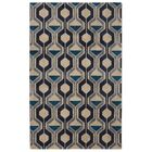 Pacheco Ring Road Mid-Century Modern Geometric Blue/Beige Area Rug Rug Size: Rectangle 7'6