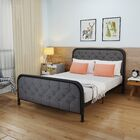 Krouse Industrial Tufted Queen Bed Frame Color: Dark Gray/Black