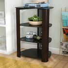 Audio Rack with Glass Shelves Color: Espresso