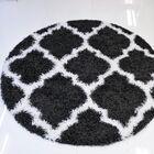 Konopka Modern Shaggy Dark Gray/White Area Rug Rug Size: Round 5' x 5'