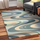 Randolph Hand-Tufted Beige/Seafoam Waves Area Rug Rug Size: Rectangle 9' x 13'