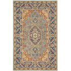 Clymer Antiquity Hand-Tufted Wool/Cotton Blue/Gold Area Rug Rug Size: Rectangle 6' x 9'