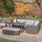 Paxson 7 Piece Rattan Sectional Set with Cushions Cushion Color: Beige, Frame Color: Brown