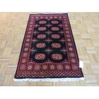 One-of-a-Kind Pellegrino Bokara Hand-Knotted Wool Black Area Rug Rug Size: Rectangle 4'6