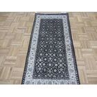 One-of-a-Kind Sherika Herati Hand-Knotted Silk Black Area Rug Rug Size: Runner 2'9
