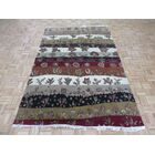 One-of-a-Kind Railey Hand-Knotted Rayon from Bamboo Silk White/Red Area Rug Rug Size: Rectangle 5'10