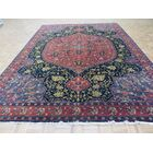 One-of-a-Kind Pellegrino Hand-Knotted Wool Salmon Navy Blue Area Rug Rug Size: Rectangle 8'10
