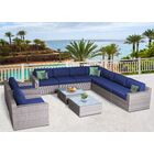 Campa Olefin 11 Piece Conversation Set with Cushions Cushion Color: Navy Blue