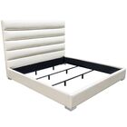 Bardot Channel Tufted Upholstered Panel Bed Size: California King, Color: White